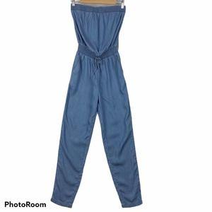 Ci Sono Blue Chambray Strapless Jumpsuit